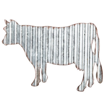 Cow Corrugated Metal Wall Decor